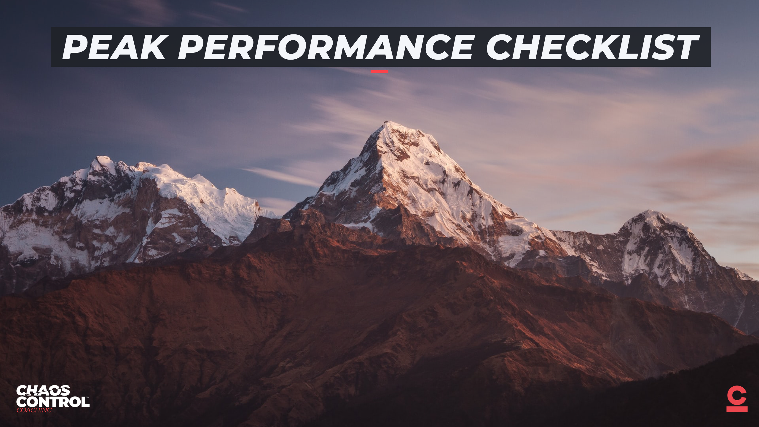 The Peak Performance Checklist